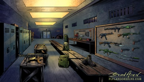 Warehouse and munitions room background illustrations for a website app game