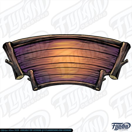 The wood sign is made with the logs and curved wood. The colors are natural wood and some purple.  Stock Artwork by freelance illustrator Brian Allen