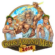 Zeus and lightning bolt men in togas