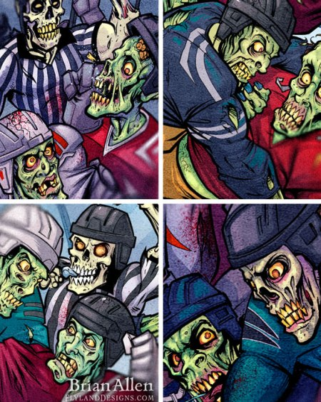 Hockey fight of ghouls and zombies for a halloween themed website background I illustrated for 2BC Sports' website