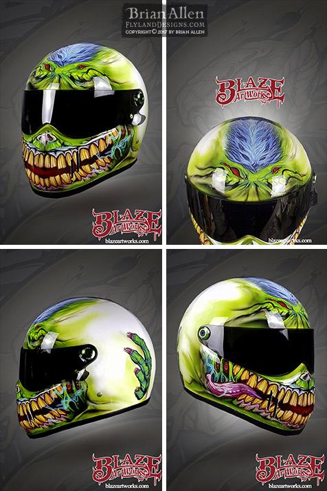 Vinyl rap helmet of a zombie wit