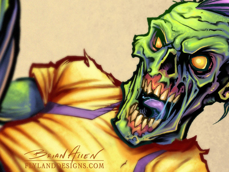 Zombie mascot character design of a soccer player.