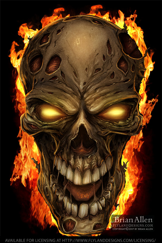 Zombie skull grinning on fire wi
