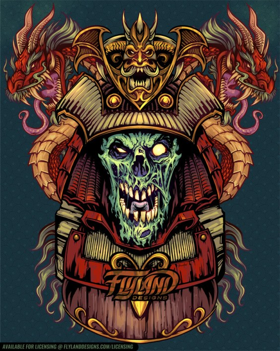 Zombie Samurai with Japanese dra