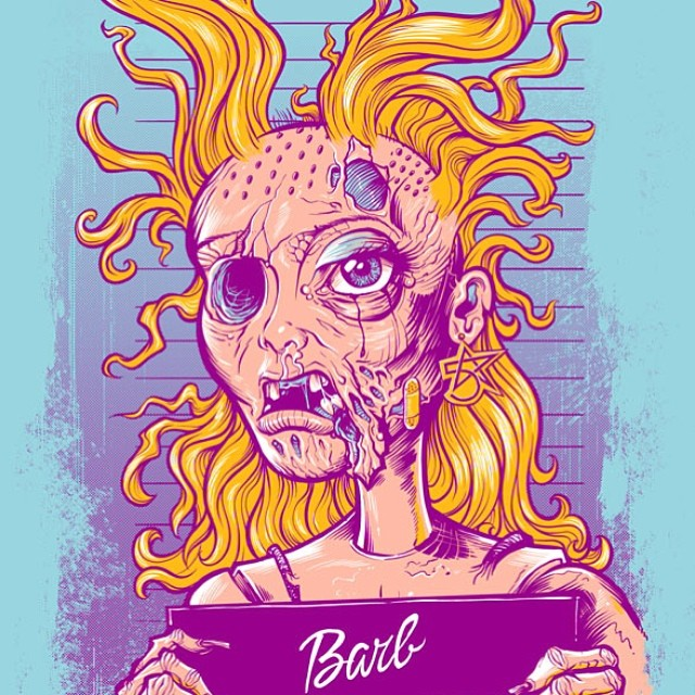 I designed this fun parody illustration of Barbie on meth for a skate board company called 5 star skate.
