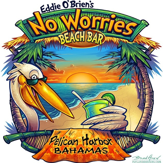 Pelican illustration I did for the beach bar t-shirt series.