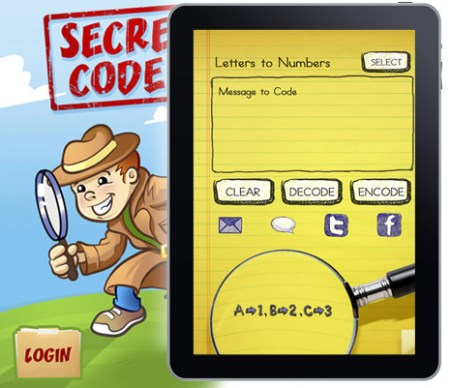 iPad app graphic design for children's game, Secret Coder