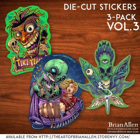 Die-cut stickers with unique original artwork illustrations