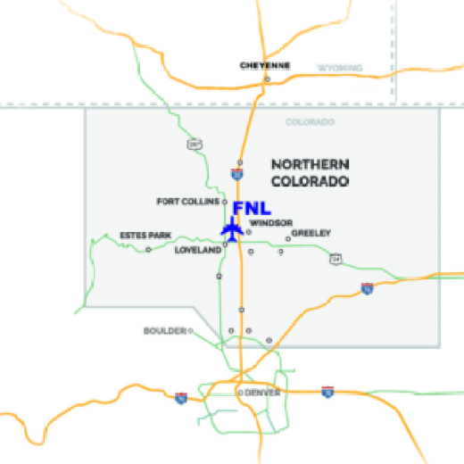 Map of Colorado showing location of the Airport