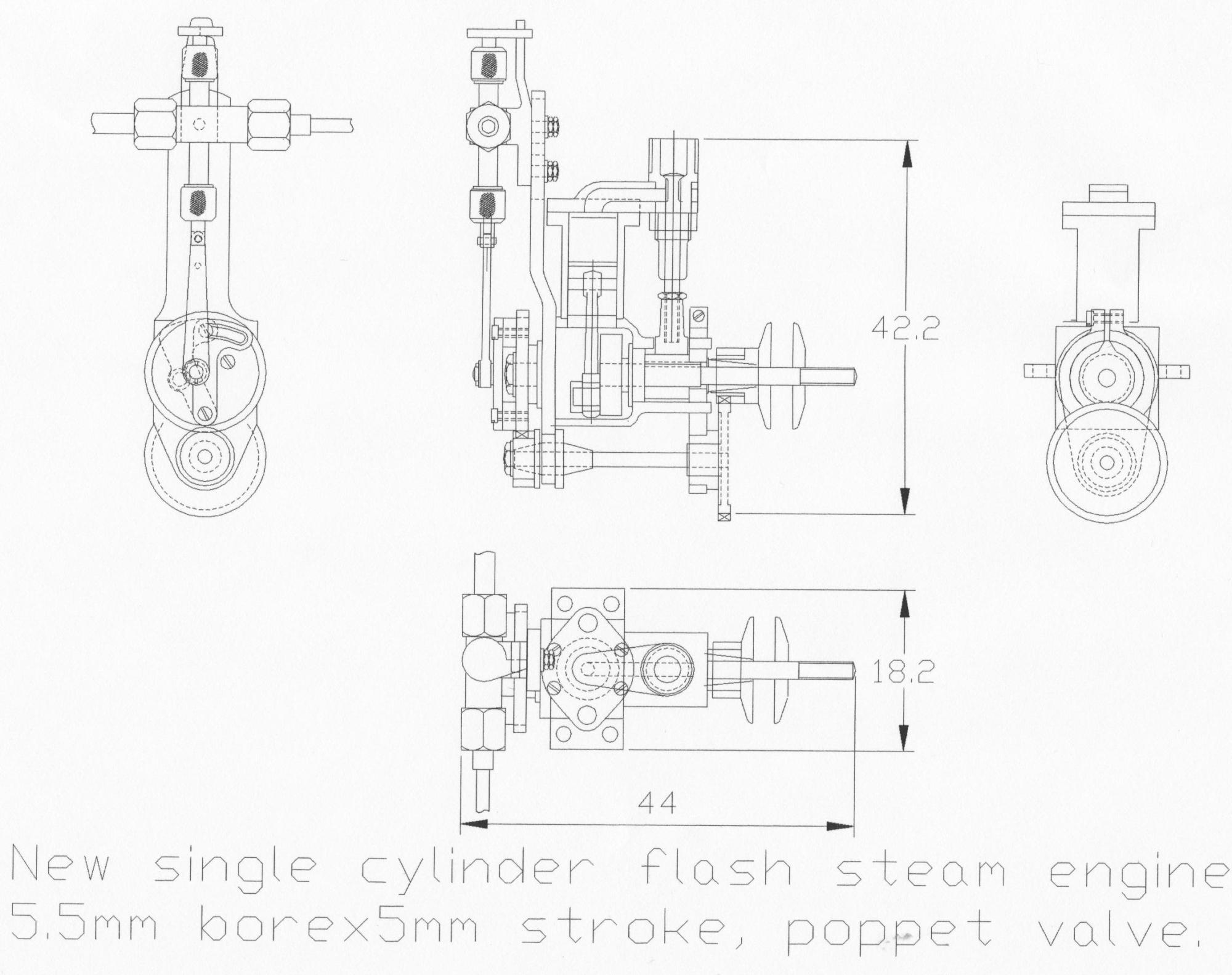 hight resolution of as mentioned i decided to try to design and build an even smaller engine and monotube the engine is 5 mm bore x 5 mm stroke uniflow the monotube is 7