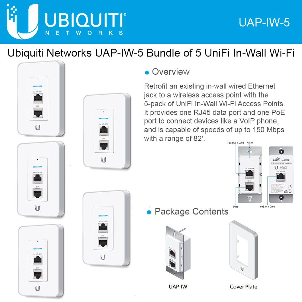 medium resolution of ubiquiti networks unifi in wall wireless access point 2 4ghz uap iw 5802 11b g n poe