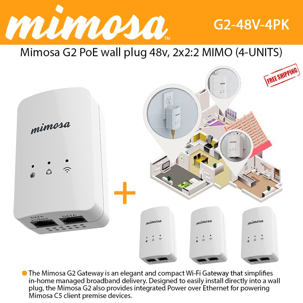 medium resolution of mimosa g2 poe 48v wall plug 802 11n 2x2 2 mimo 16 dbm 300 mbps phy 4 units 100 00034