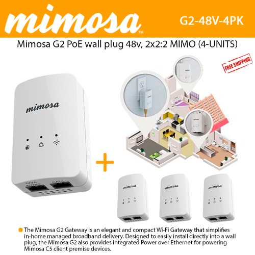 small resolution of mimosa g2 poe 48v wall plug 802 11n 2x2 2 mimo 16 dbm 300 mbps phy 4 units 100 00034
