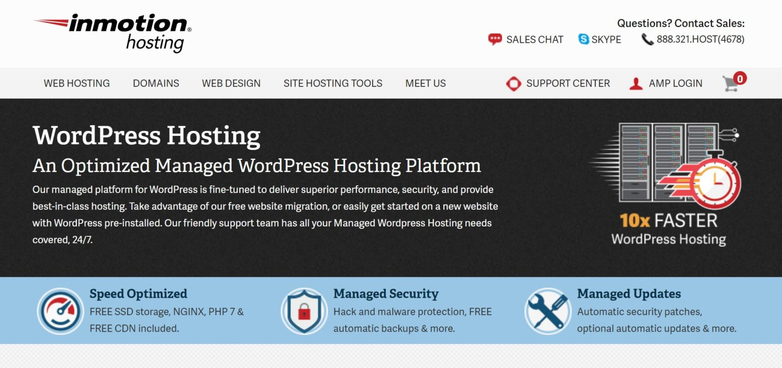 inmotion is a fast web hosting for WordPress service