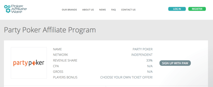 Party Poker Affiliate Program