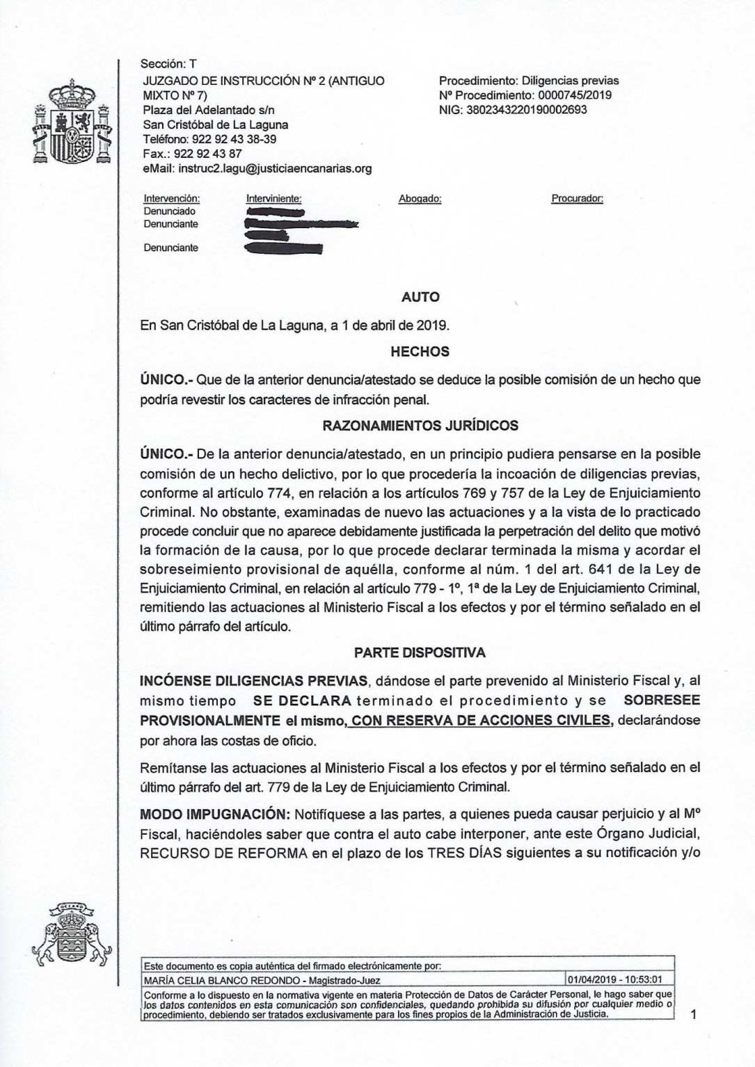 archivo primeras denuncias por accidente de tráifco