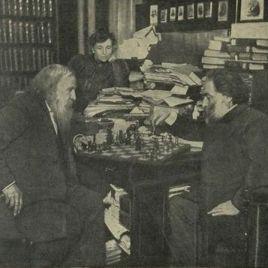 Mendeleev gioca a scacchi con il pittore Arkhip Ivanovich Kuindzhi. Sullo sfondo, Anna Ivanova Popova, seconda moglie del chimico. 1882, pucclicata da 'Nuevo Mundo', luglio 1910.