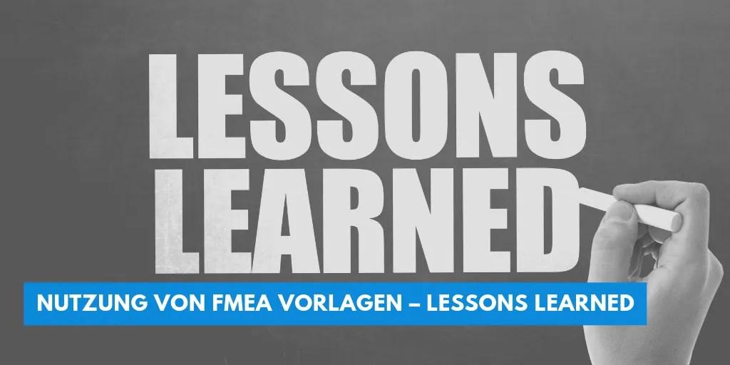nutzung von fmea vorlagen lessons learned
