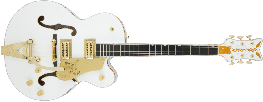 medium resolution of hollow body g6136t wht players edition falcon with string thru bigsby filter tron pickups white