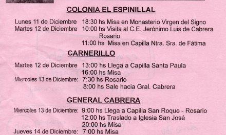 La Virgen del Rosario de San Nicolás visita General Cabrera y la región