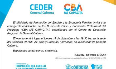 El CEDER Gral. Cabrera cierra el año con entrega de certificados