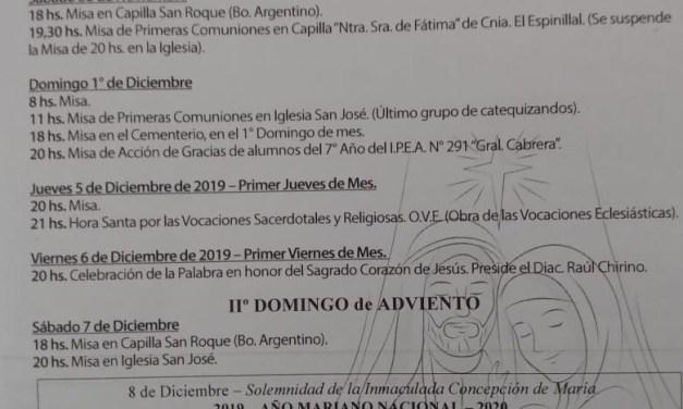 Celebraciones desde la Parroquia San José