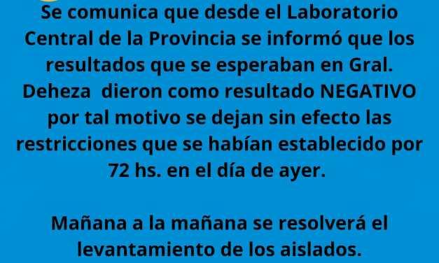 Cabrera: Quedan sin efecto las restricciones luego de conocerse los resultados negativos en Deheza