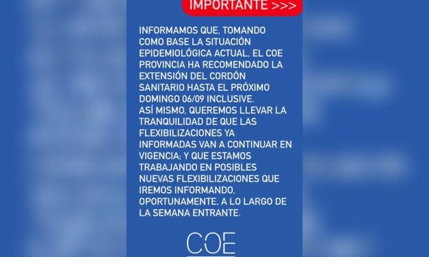 Cabrera: El COE Provincial recomendó la extensión del cordón sanitario hasta el 6 de septiembre
