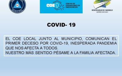 Carnerillo registró hoy un fallecimiento por COVID 19