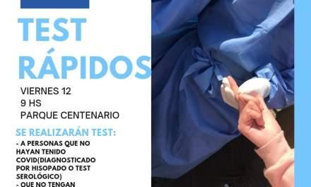 Nueva campaña de Test rápidos, este viernes 12 en Parque Centenario