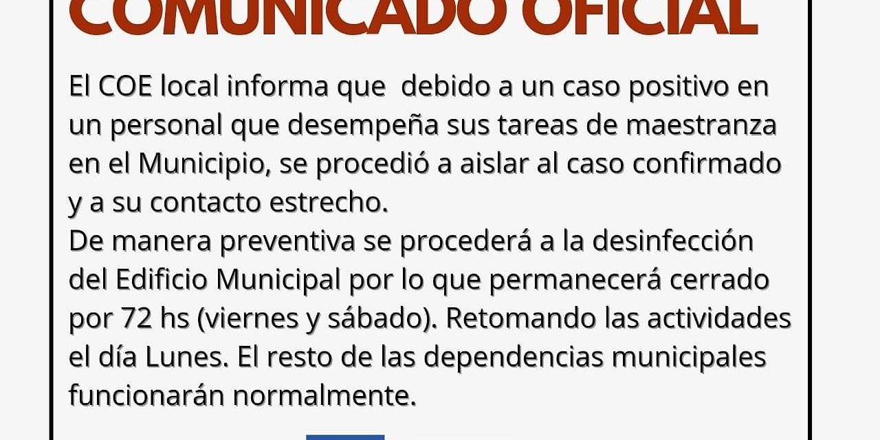 Desinfección en el Municipio – 1 caso positivo y aislado su contacto estrecho