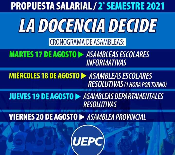 UEPC – Paritarias: la provincia hizo una oferta salarial para el segundo semestre