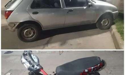 Accidente entre auto y moto