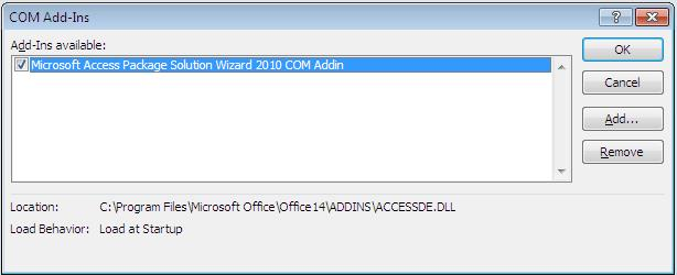 Microsoft Access 2010 Package and Deploy Wizard or other addins is not available after I