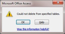Delete Query in Microsoft Access Could not delete from the specified tables.JPG