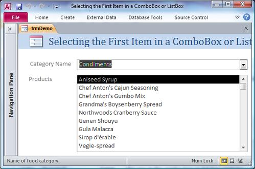 Microsoft Access Form Selecting the First Item in a ComboBox or ListBox