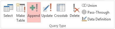 Microsoft Access 2013 Append Query Ribbon to Insert Records into a Table