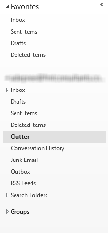 Clutter, Email, Outlook, Menu, Inbox, Office 365