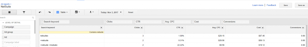 AdWords to NetSuite PPC Campaign Implementation into CRM