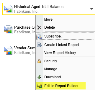 Historical Aged Trial Balance and select Edit in Report Builder