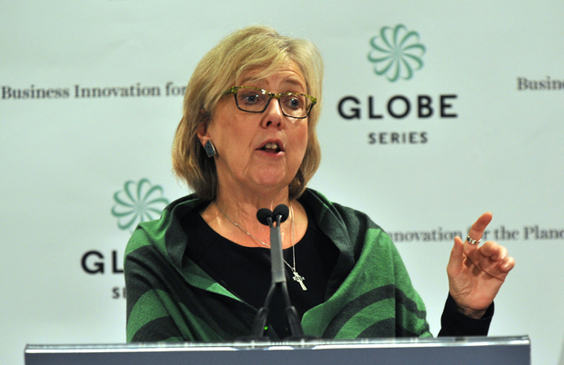Green Party Leader Elizabeth May talks to media at GLOBE 16, in Vancouver on March 2, 2016./ AFP PHOTO / Don MacKinnon