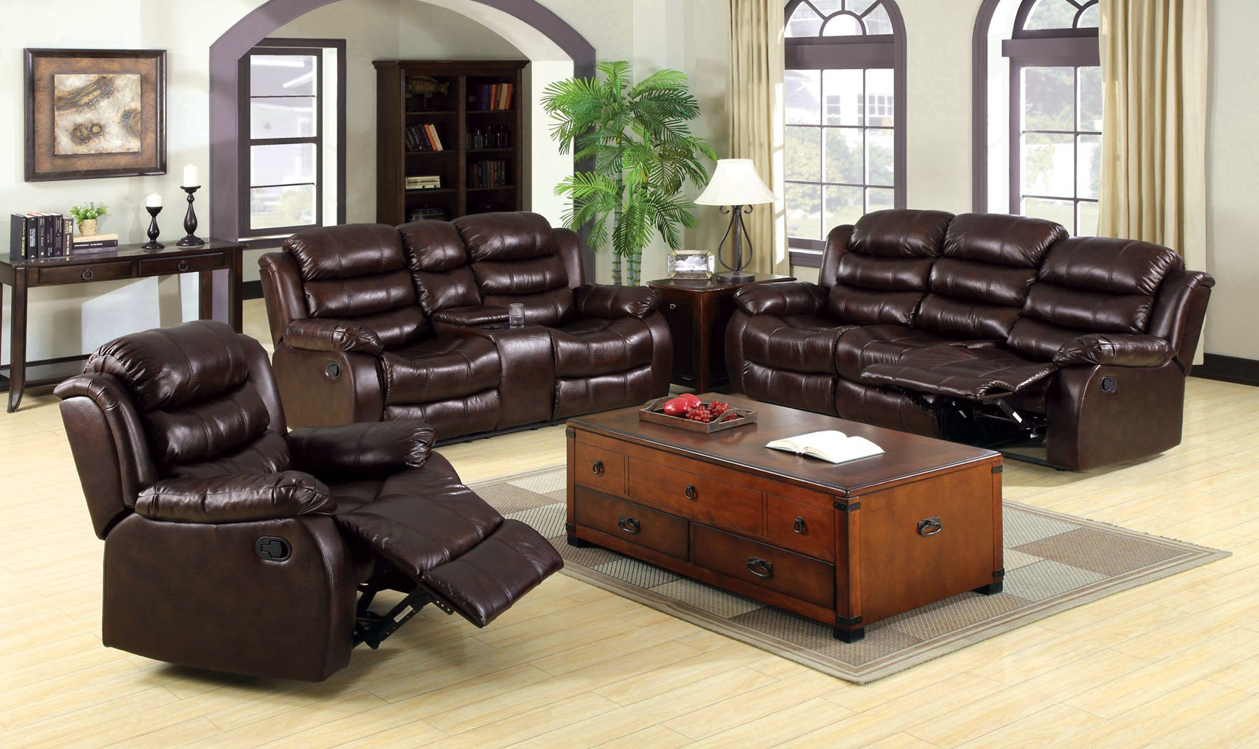 nora brown leather reclining 3 pc living room sofa set chocolate sectional bonded loveseat with center