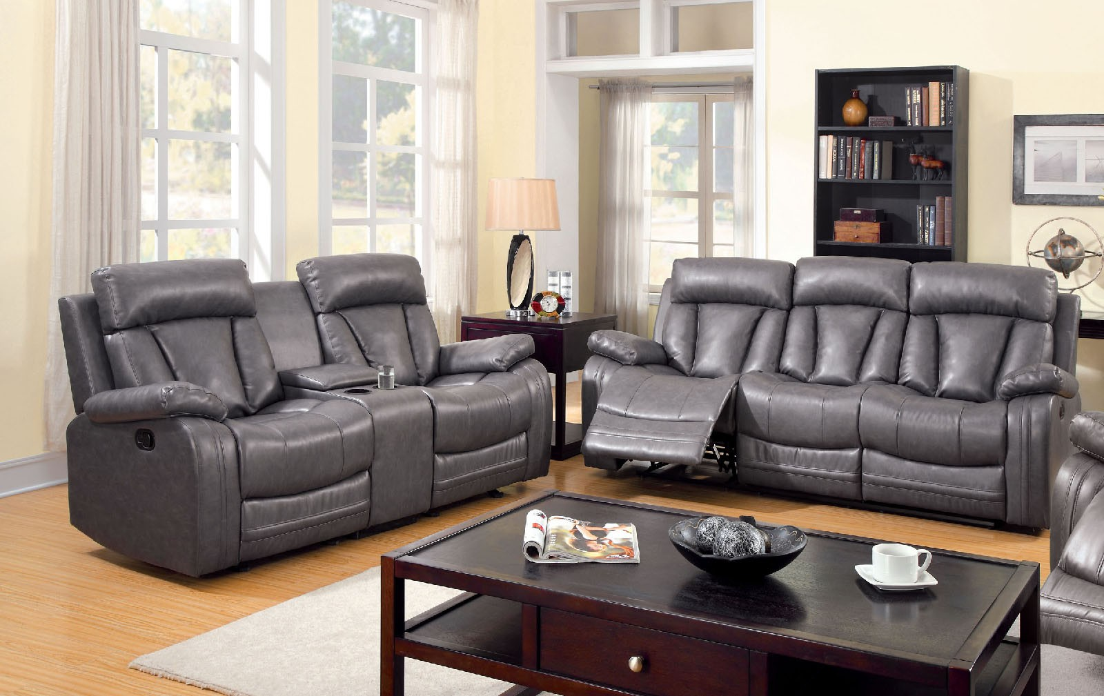 motion sofa set white and black sectional 3 pc loveseat recliner gray bonded