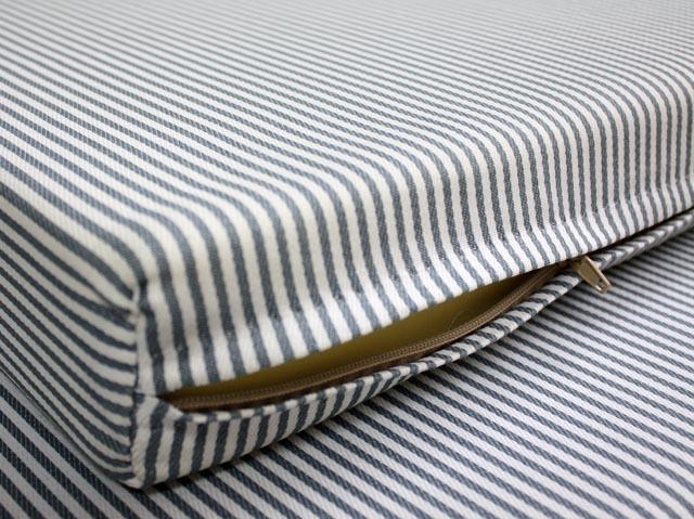 Custom Gray  White Striped Zippered Foam Mattress Cover