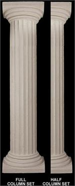 "Fine Sand Stucco Smooth Fluted Column 8""W x 103""H Shaft"
