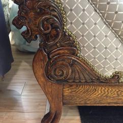 Antique Leather Chair Repair Top Grain Wood Carving Detail   Foamland And Ted's Furniture Restoration Repair, ...
