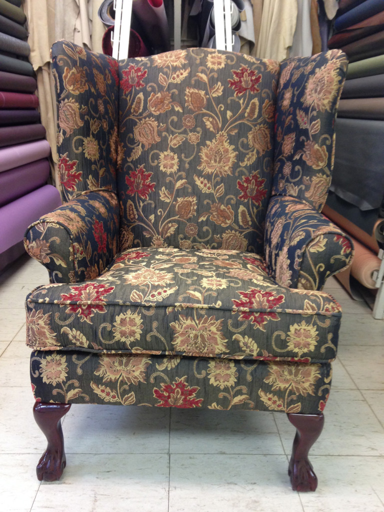 vinyl chair repair brown office chairs uk reupholstered wing | foamland and ted's furniture restoration ...