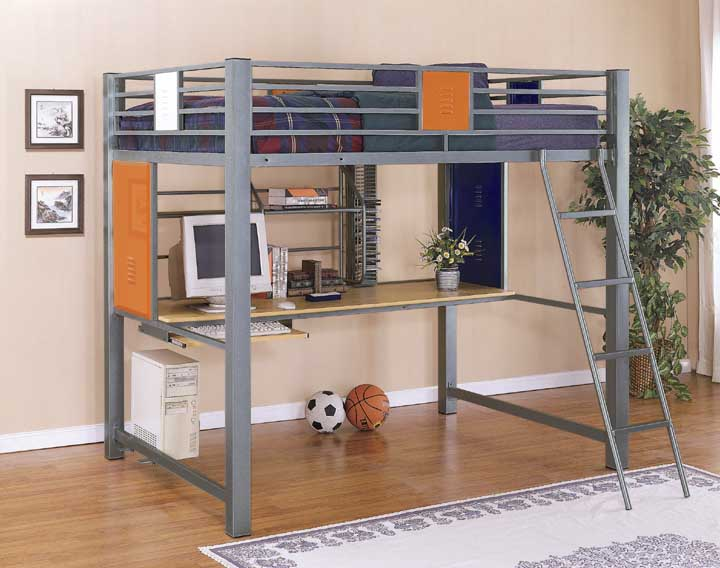 Full size loft bunk bed with builtin study desk in