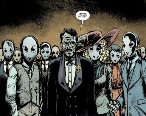 Fumetto con personaggi dai volti mascherati inquietanti