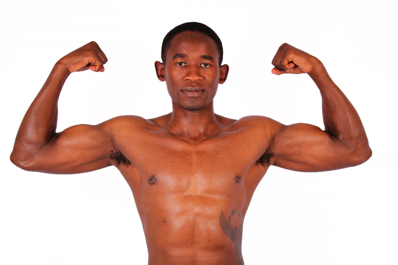 athletic man flexing biceps